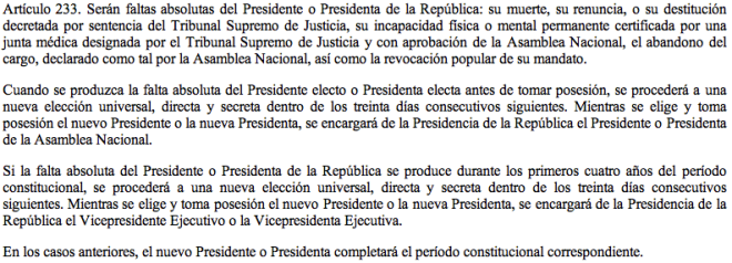Art. 233 Constitución de Venezuela