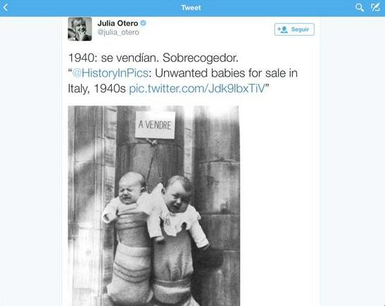 Julia Otero eliminó el tuit cuando supo que era un error. Esta es la imagen.